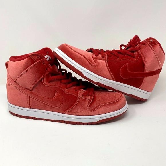 Nike SB Pro Dunk High Premium Red Velvet Shoes 3f52d7b84